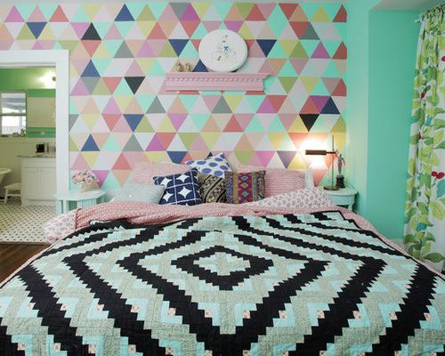 卧室创意手绘画 多彩 创意家居装饰
