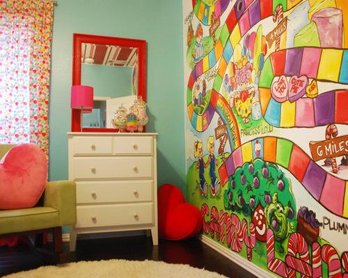 儿童房手绘墙糖果屋