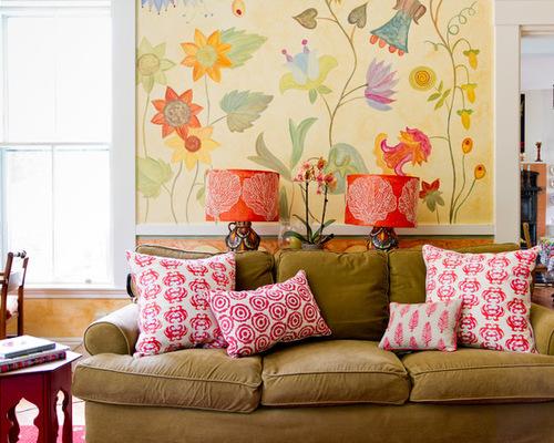 清新风格沙发背景墙彩绘