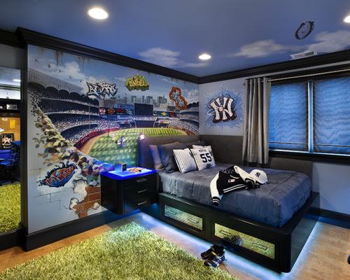 青少年卧室墙绘图片