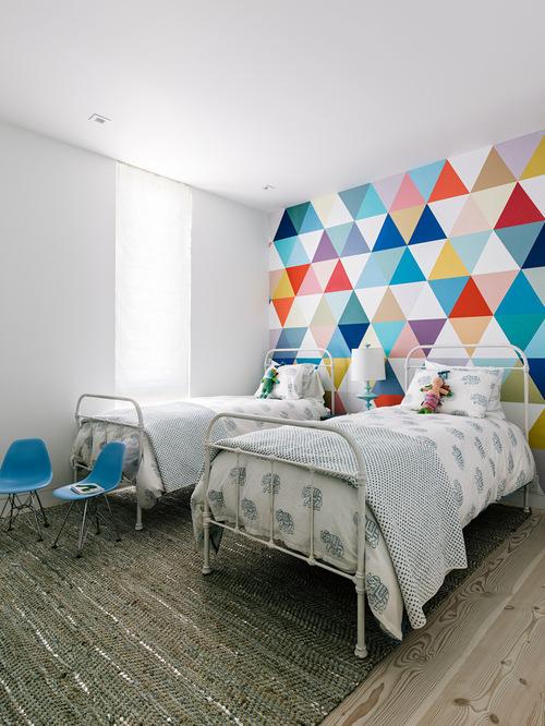 儿童房间彩绘-三角形 彩色块手绘墙
