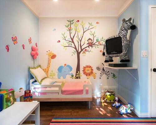 可爱儿童房手绘墙 卡通动物
