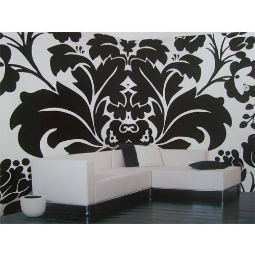 黑色大气时尚简约花纹手绘墙墙绘