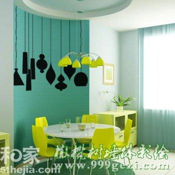 绿色背景彩绘墙 艺术手绘墙