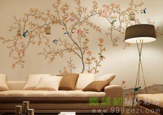 植物图案沙发背景墙彩绘