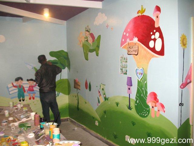 清新卡通幼儿园教室彩绘