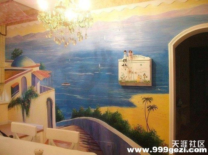 地中海墙体彩绘案例