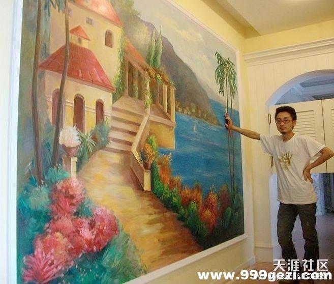 地中海类型的墙体彩绘手绘墙
