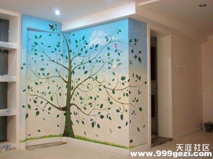家庭墙体彩绘适合画什么类型的树木