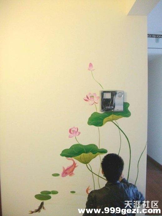 荷花和鱼墙绘彩绘图片