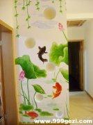 池塘荷花和鱼家庭墙体彩绘