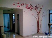 枫树图案-电视背景墙彩绘