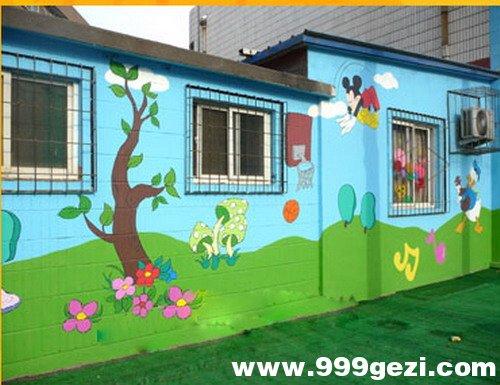 瓷砖上绘制幼儿园彩绘