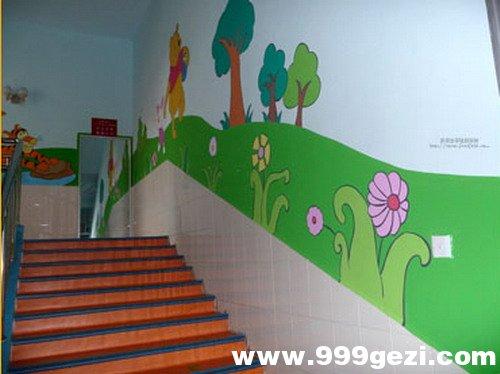 幼儿园楼梯彩绘图片