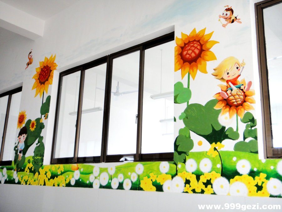 向日葵卡通墙体壁画