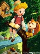童话故事松鼠男孩油画插图