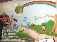 儿童画彩虹 小孩荡秋千 小松鼠在草地上花朵