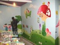 幼儿园室内墙绘 蘑菇小孩坐飞机 小房子