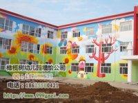 幼儿园室外墙体彩绘 楼房彩绘铅笔树白云 小朋友蘑菇房气球